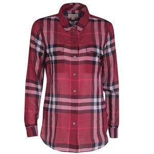 NWT Burberry Brit Plaid Check Red Blouse XL